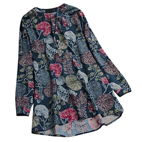 ZEZKT Plus Size Bluse Womens Casual O-Neck PrintLange Ärmel Damen Tops T-Shirt Langarm Pullover Tops Lose Tunika Elegante Scoop Neck
