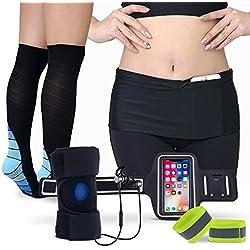 Ultimate running Gear–All-in-One Pack per jogger, gli appassionati di sport con cuffie bluetooth, calze a compressione, tutore per ginocchio, cintura da corsa, da porta telefono, riflettente polsiere