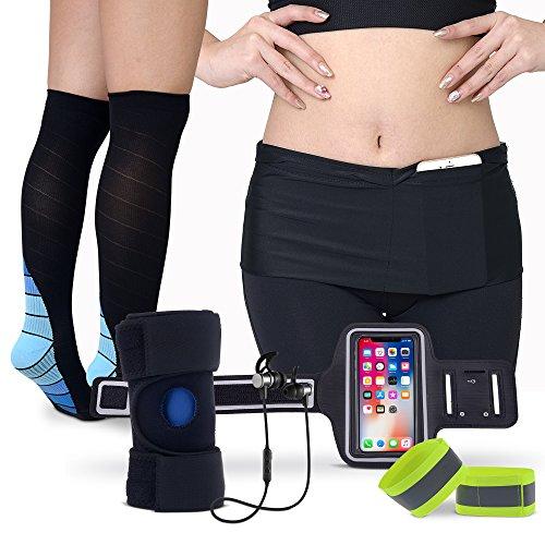 Ultimate Running Gear–All-in-One Pack für Jogger, Sport Enthusiasten mit Bluetooth Kopfhörer, Kompression Socken, Kniebandage, Running Gürtel, Armband Halterung, reflektierende Handgelenk Bands (Socken Kompression Leistung)