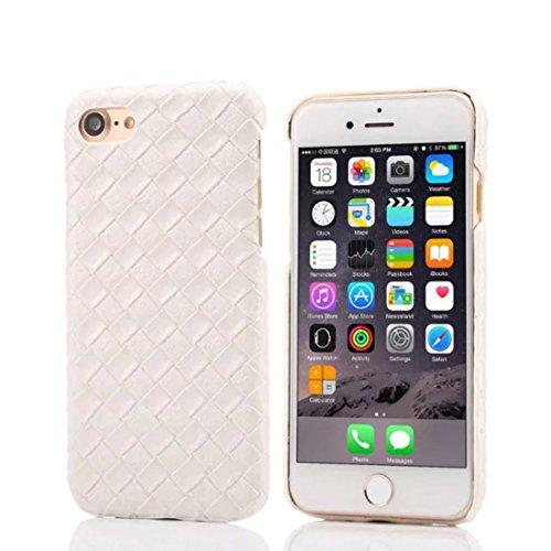 Apple iPhone 7 4.7 inch Coque Protection Case, Spécial Tricoté Texture Coloré Serie Diverses Couleurs Mince Poids Léger Luxe Joli Dur Housse de protection - Rose blanc