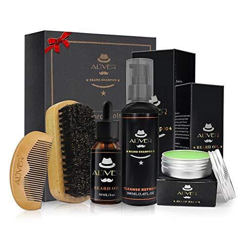 5pz men beard care kit, beard grooming kit–pettine per barba barba barba shampoo + spazzola + + barba olio balsamo + baffi balsamo