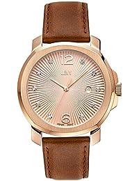 JBW  J6301B - Reloj de cuarzo para mujer, con correa de cuero, color marrón