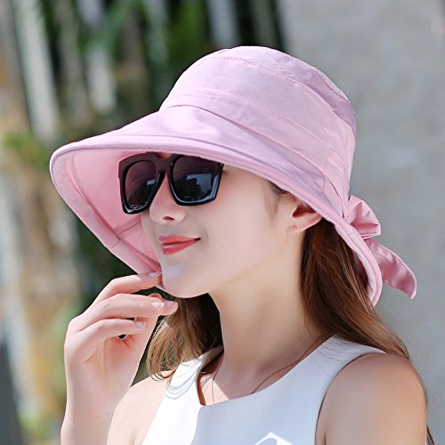 estate da cappello ultravioletti anti raggi sandali pieghevole da sole casco donna Outdoor Rose da papillon cappello red Pink sole Sun grande fa Cappello estivo Lgk R5qOPpH5