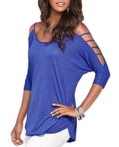 Smile YKK Top Femme Chic T-shirt Chemise Blouse Epaule Nue Manches Courtes Casual Soirée Elégant Bleu