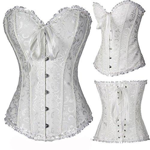 sexy corsetto bustino burlesque stringi vita lingerie intimo da donna C8199 Bianco