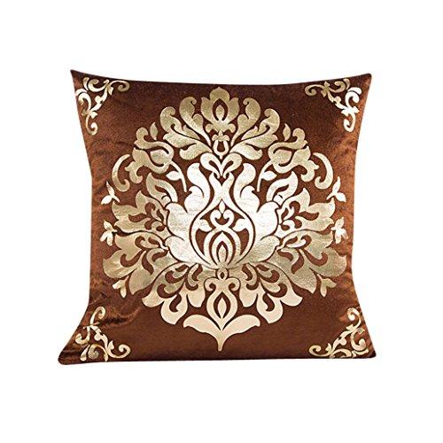 Ningsun_casa ningsun velluto dorato stampa a caldo fodera per cuscino federa,federa fodera per cuscino da divano a vita home decor,piazza federa per home bar car office (marrone, 45cm*45cm)