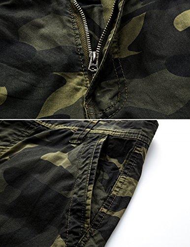 MENSCHWEAR Uomo Pantaloncini corti Bermuda Cargo short con tasconi laterali con cintura Dark-militare-verde