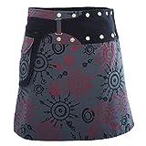 PUREWONDER süßer Wickelrock für Damen, 100% Baumwolle, verstellbare Größe, Rock mit Tasche, Design Nr. 174 Grau