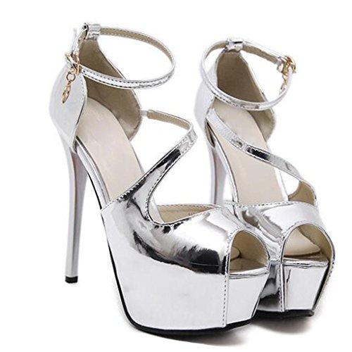 W&LM Signorina Tacchi alti sandali Scarpe da sposa È buono Bocca poco profonda Scarpa Piattaforma impermeabile Scarpe di bocca di pesce sandali Silver