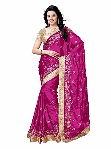Shailaja Sarees Women's Satin Saree(SSS1122E_Pink_Free Size)