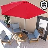 Deuba Sonnenschirm • Ø 2,7m • mit Kurbel • halbrund • UV-Schutz 40+ • Wasserabweisend • Rot - Terrassen Sonnenschirm Balkonsonnenschirm Terrassenschirm Balkonschirm