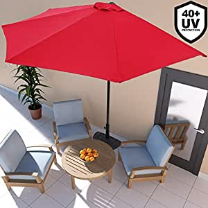 demi parasol avec manivelle 3m terrasse balcon rouge. Black Bedroom Furniture Sets. Home Design Ideas