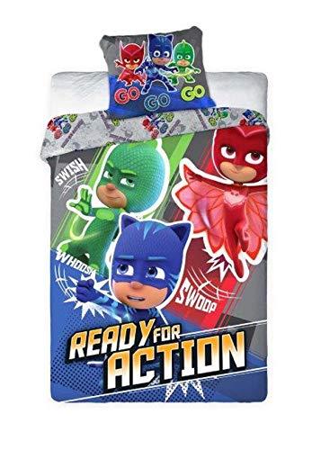 PJ Masks Ready For Action Juegos De Fundas para Edredón 140x200cm - 100% Algodón - Original y Oficial Héroes en Pijamas Gatuno Buhíta Gecko