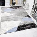 Wohnzimmer Teppich Modern Geometrisches Muster Gestreift Meliert in Blau Grau Weiß Schwarz 120x170 cm