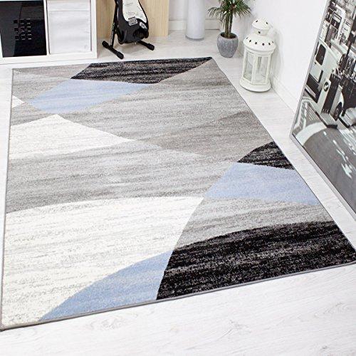 Alfombra moderna de diseño con dibujo geométrico, jaspeada, en gris, blanco, negro y azul - Material certificado según ÖKO TEX, Maße:200x280 cm
