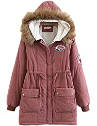 Minetom Cappotto Invernale da Donna Maniche Lunghe Giacca Trench Lungo Parka  con Cappuccio Imbottito Giubbino Sport fcc3e636838