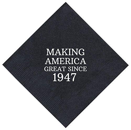 enke SO Amerika Großartiges seit 194770. Geburtstag Party Supplies 50Stück 12,7x 12,7cm Party Servietten Cocktail Servietten schwarz ()
