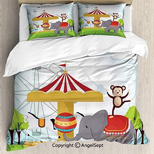 Affe Zirkus Kostüm - Soefipok Bettwäscheset 3-teilig mit 2 Kissenbezügen, AFFE und Elefant in einem Zirkus-Themenpark Festliche Kostüme Details Celebration Multicolor, Soft Breathable