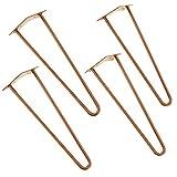 [en.casa]®] Set de 4 Patas de Acero robustas - Hairpin Legs - Color: Cobre - 45 cm - 2 Varillas