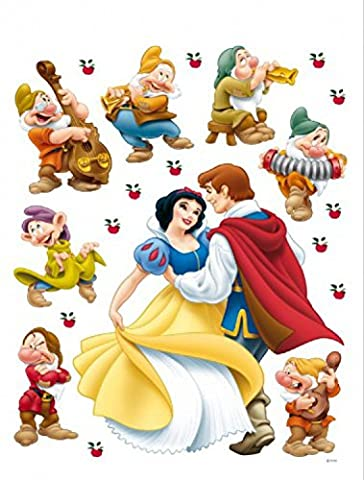 1art1 75287 Schneewittchen Und Die Sieben Zwerge - Schneewittchen Und Ihr Prinz Wand-Tattoo Aufkleber Poster-Sticker 85 x 65 cm