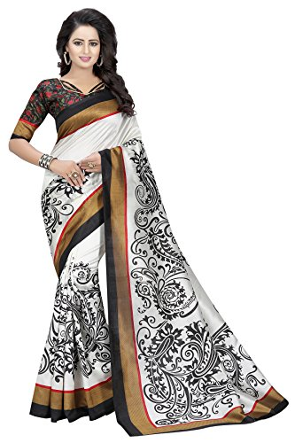 J B Fashion Women's Bhagalpuri white Saree With Blouse Piece
