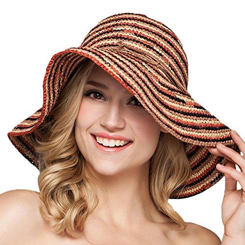Maitose® Pliable Plage UV de protection de paille Chapeaux de femmes Rouge