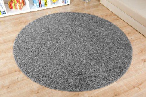 Havatex: Shaggy Teppich Duke dunkel grau rund / Geprüfte Qualität / Flormaterial: 100 % Polypropylen / In verschiedenen Größen erhältlich, Größe Auswählen:100 cm rund
