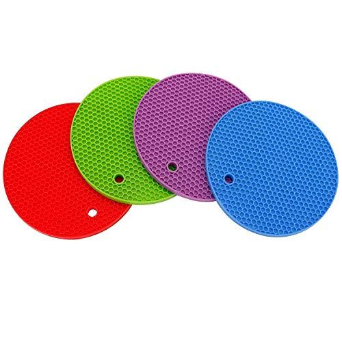 Elebon - Salvamanteles redondo de silicona para platos calientes (juego de 4), colores mezclados resistentes al calor, 7 pulgadas