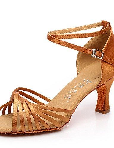 ShangYi Chaussures de danse ( Noir / Marron / Rouge ) - Non Personnalisables - Talon Bobine - Satin / Flocage - Latine / Salsa Red