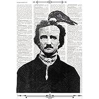 Stampa E.A. Poe con il corvo su