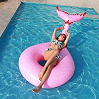 ytbaccl Inflatable Floating Pool Rafts Floating Lounge Chairs Summer Beach Swimming Pool Inflatable raft Summer Beach Swimming Pool Party Lounge Raft Decorations Mermaid tail swim ring