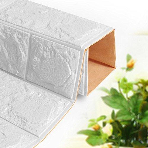 WalshK PE de espuma de papel tapiz 3D DIY pared pegatinas Decoración de pared en relieve ladrillo piedra blanca (Blanco)