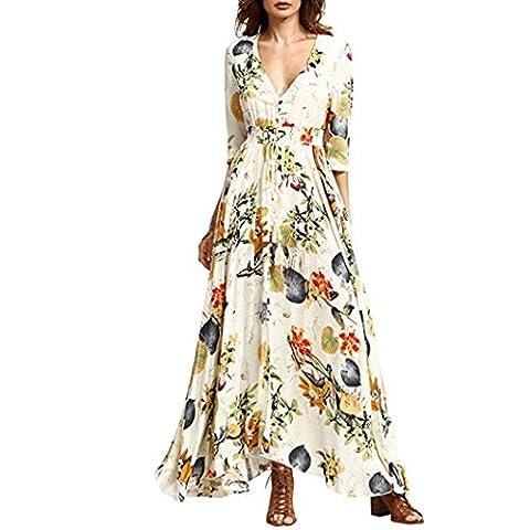 Col V Longue Robe Manches Courte pour Femme - Taille Haute Robe de Bohême Casual (Asie M, Jaune)