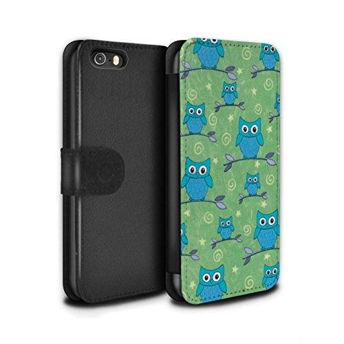 Stuff4 Coque/Etui/Housse Cuir PU Case/Cover pour Apple iPhone 5/5S / Rouge/Blanc Design / Motif Hibou Collection Bleu/Vert