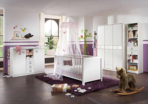 Babyzimmer Kinderzimmer Komplett-Set Babymöbel Babybett Wickelkommode Babyausstattung Einrichtung Komplett Schrank Mädchen Junge Weiß