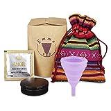 EmmaCup, la coupe menstruelle pliable avec lubrifiant, boîte, sac en tissu et tasse de nettoyage (couleur Hibou)