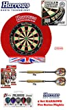 Starter-Dartset (Harrows OCBB Bristle Dartboard + H. Surround red + 2 Set London Pride Darts + Abwurflinie + 5er Set Flights