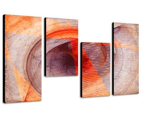 130x70cm 4 teiliges Keilrahmenbild orange (30x70+30x50+30x50+30x70cm) abstraktes Wandbild mehrteilig...