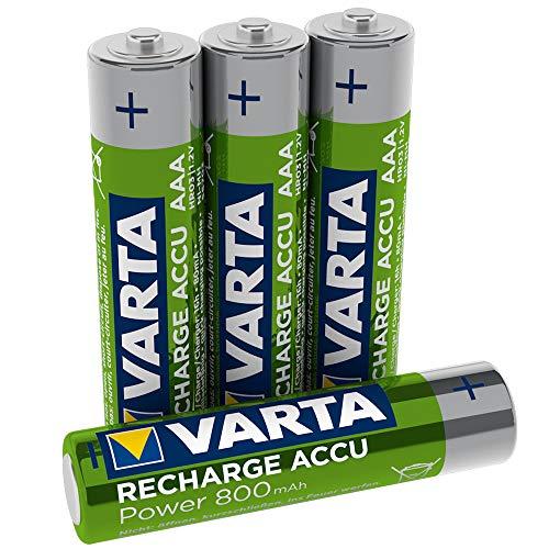 VARTA Rechargeable Akku Ready2Use (vorgeladener AAA Micro 800 mAh Ni-Mh, wiederaufladbar ohne Memory-Effekt, sofort einsatzbereit) 4er Pack