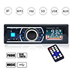 Homvik Radio de Coche Autoradio Bluetooth Manos Libres Audio Estéreo AM FM USB SD MP3 Reproductor In-Dash con Control Remoto
