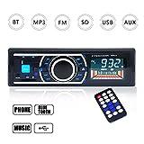 Homvik Radio de Coche Autoradio Bluetooth Manos Libres Audio Estéreo AM FM USB SD MP3 Reproductor In-Dash con Control Remoto