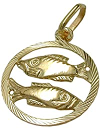 Jewelry necklace pendant Zodiac Pisces from 375 Gold 15mm