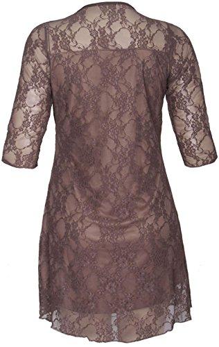 Chocolate Pickle ® Nouveau Femmes Plus Size Floral Lace manches 3/4 Robe droite 42-56 Moka