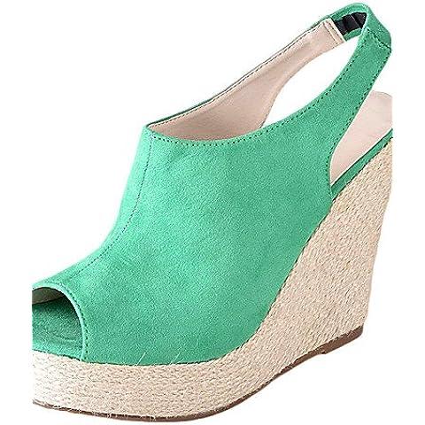 GS~LY Zapatos de mujer - Tacón Cuña - Talón Descubierto - Sandalias / Tacones - Vestido - Ante - Negro / Rojo , red-34 ,