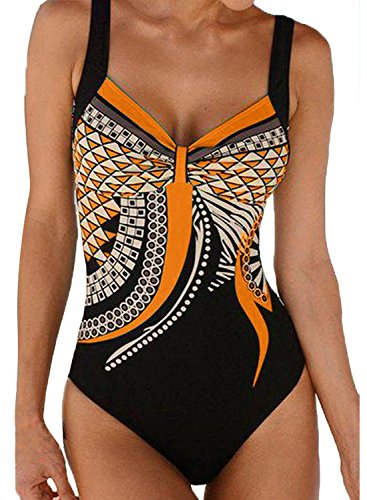 FIYOTE Damen Badeanzug Oversize Bademode Bauchweg Sportlich Tankini Push Up figurformend Bandeau große Größen Rückfrei