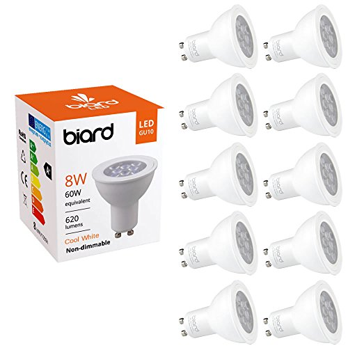 Hudson Reed Biard - Pack de 10 Ampoules LED Culot GU10 Spot 8W - Blanc Froid - Non Dimmables