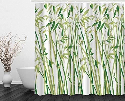 DECMAY Anti-schimmel Duschvorhang Wasserdicht Anti-Bakteriell Duschvorhang Badvorhang für Badezimmer mit 12 Duschvorhangringe 180x180cm Grüner Bambus