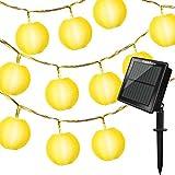 Tobbiheim 20 LED Solar & USB Betrieben Laterne Lichterkette 6 Meter Lampions Super Lange Beleuchtungszeit Wasserdicht IP68 Outdoor Garten Außenbeleuchtung mit 2M Zuleitung – Warmweiß