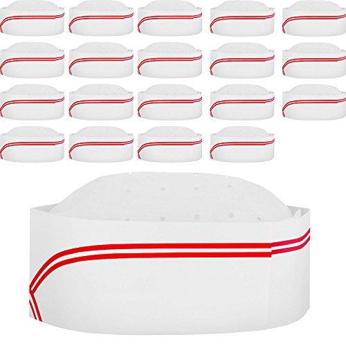 20 Packung 3,2 Zoll Einweg Papier Chef Hut Set Einstellbare Küche Kochen Kochmütze für Lebensmittel Restaurants, Haus Kitchen, Schule, Klassen, Catering Equipment oder Geburtstagsfeier