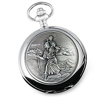 Taschenuhr St. Christopher, graviert, in hochwertiger Geschenkbox, für Jungen, Taufgeschenk